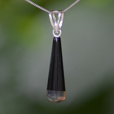 Whitby jet and blue Amber pendant