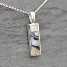 Long oblong Derbyshire Blue John and sterling silver pendant