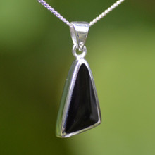 Contemporary asymmetrical sterling silver and Whitby Jet pendant