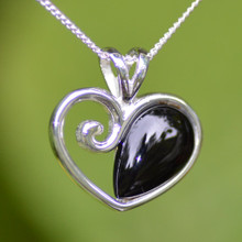 Contemporary sterling silver and Whitby Jet heart cabochon necklace