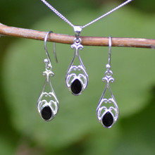 Whitby jet Celtic pendant and earring set