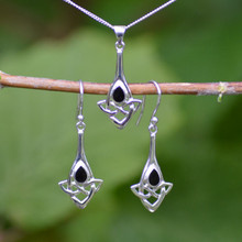 Celtic teardrop pendant and earring set in Whitby jet and sterling silver.