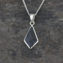 Diamond shaped sterling silver and Whitby Jet necklace