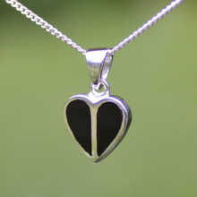 Contemporary Whitby Jet and silver two stone heart necklace
