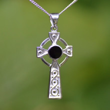 Slim Celtic Whitby Jet and sterling silver Cross pendant