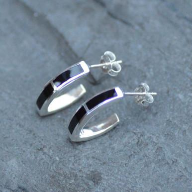 Whitby jet v shaped hoop earrings