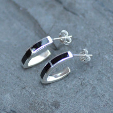 Whitby jet v shaped hoop earrings
