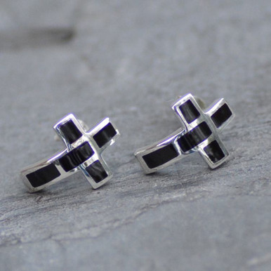 Whitby jet curved cross ear studs