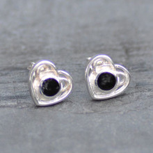 Celtic Whitby jet heart earrings
