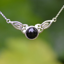 Celtic sterling silver adjustable necklace with round Whitby Jet cabochon