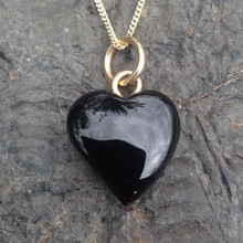 Handmade Whitby Jet and gold heart necklace