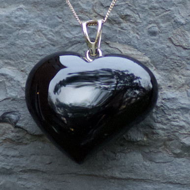extra large whitby jet carved heart pendant on 9ct gold chain