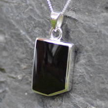 Large Whitby Jet cut corner rectangular pendant on sterling silver chain