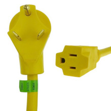 "RV Dogbone Adapter 30 amp Male 15 amp Female 12"""