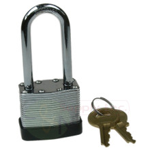 "1-1/2"" 40mm Laminated Padlock Long Shackle Keyed Alike Master A389"