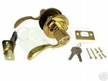 Santa Fe Keyed Alike Entry Lever Lock, Polish Brass New