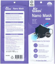 Black Airqueen Nano Mask with Nanofiber Filter Pack of 10