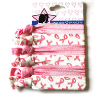 BREAST CANCER HAIR TIE 6PCS/CD