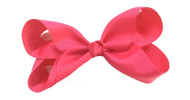 "6.5"" HOT PINK CLIP BOW 12 PCS/ DZ"