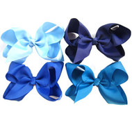 "6.5"" CLIP BOW / BLUE COLOR ASSORTMENT  12 PCS / DZ"