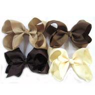 "6.5"" CLIP BOW / BROWN COLOR ASSORTMENT  12  PCS / DZ"