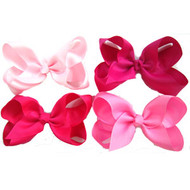 "6.5"" CLIP BOW / PINK COLOR ASSORTMENT  12 PCS / DZ"