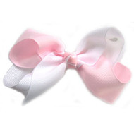 CLIP BOW WHITE + LIGHT PINK