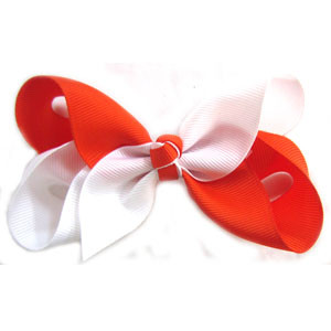 CLIP BOW WHITE + ORANGE