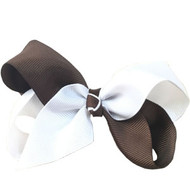 CLIP BOW WHITE + BROWN