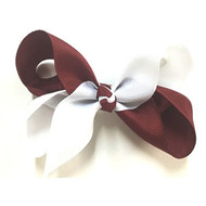 CLIP BOW WHITE + BURGANDY