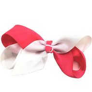 CLIP BOW WHITE + HOT PINK