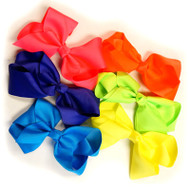 NEON MIX COLOR ASSORTMENT  CLIP BOW  12 PCS /DZ