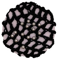 "ALL BLACK HAIR BUN NET WITH PEARLS ( 4"" DIAMETER ) 12 PCS / DZ"