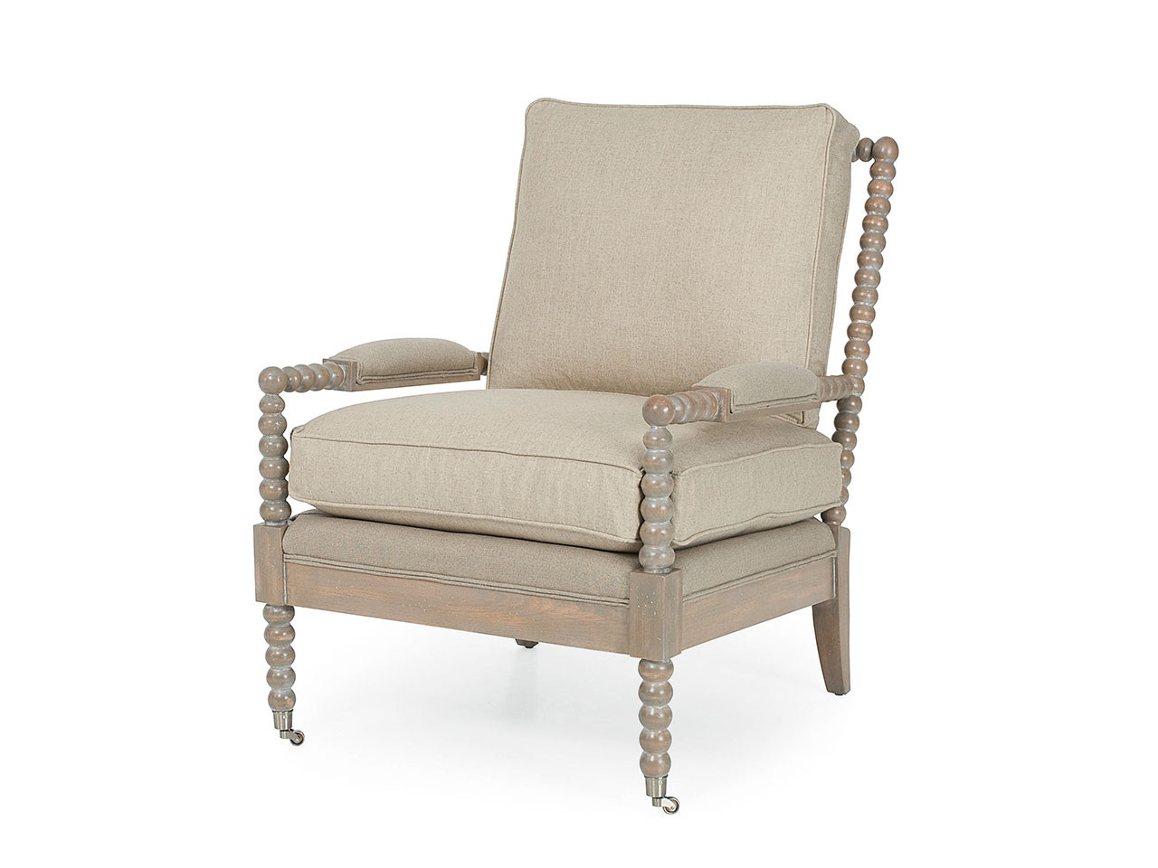Larren Grey Spool Chair | Upholstered Armchairs, Living Room Chairs ...
