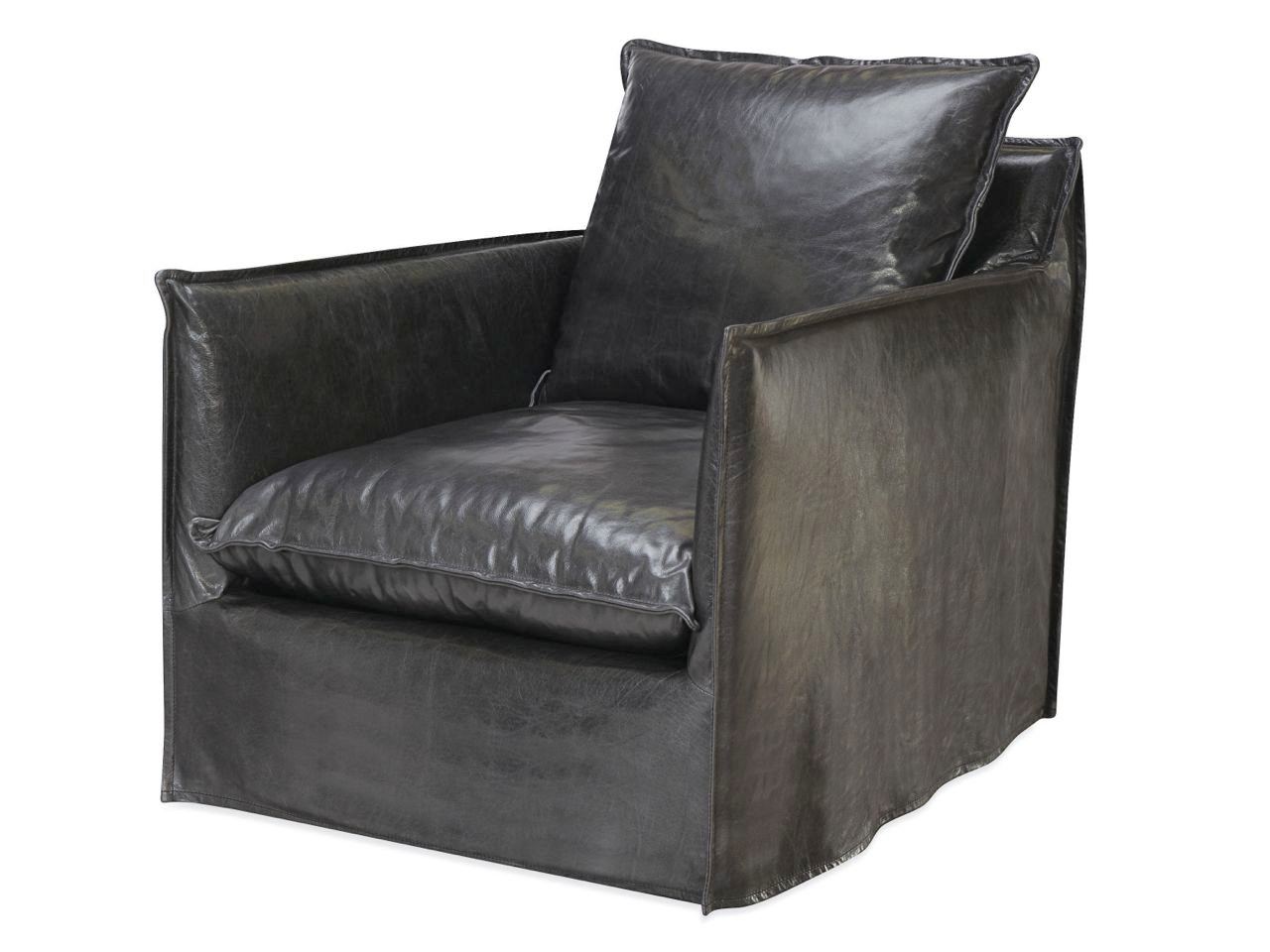 ... Riley Slipcovered Leather Swivel Chair. Image 1