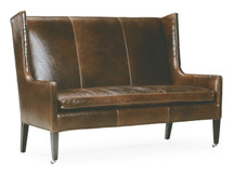 Arlo Leather Dining Loveseat with Casters