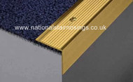 30x30mm Solid Polished Brass Stair Nosing Step Edging - 2.5m