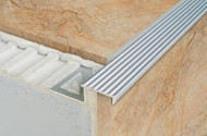 Non Slip Grooved Tread Tile-In Stair Edge Nosing For Tiles- 2.5m