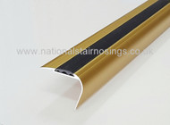 Aluminium Anodised Gold Round Edge Anti Slip Stair Nosing Ramp Profile -2.5m