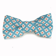Dot Flower Blue Bow Tie for Dogs