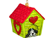 "Dog House Glass Christmas Ornament ""Forever Home"""