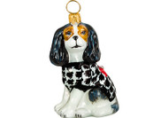 Cavalier King Charles Spaniel Christmas Ornament Houndstooth Coat Tri-Color