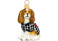 Cavalier King Charles Spaniel Christmas Ornament Houndstooth Coat