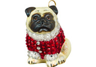Pug Christmas Ornament Red Crystal Coat