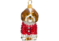 Shih Tzu Christmas Ornament in Red Crystal Coat (Brown)