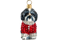 Shih Tzu Christmas Ornament in Red Crystal Coat (Black & White)