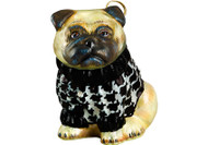 Pug Christmas Ornament in Houndstooth Sweater