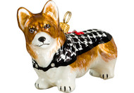 Corgi Christmas Ornament Houndstooth Sweater