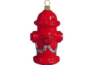 Red Fire Hydrant Glass Christmas Ornament