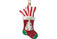 Puppy's First Christmas Stocking Glass Christmas Ornament